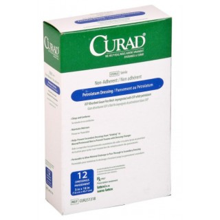 Medline #CUR251318 - DRESSING, GAUZE, PETROLATM, CURAD, 3