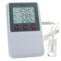 Triple Display - Time and Date Stamp Digital Alarm Thermometer, Probe Only no Bottle, 1/ea