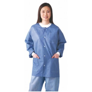 Medline #NONRP600S - Disposable Knit Cuff / Collar Multi-Layer Lab Jackets, Blue, Small, 30 EA/CS