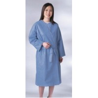 Disposable Multi Layer Patient Gowns, Short Sleeves, Side Tie, X-Large, Blue, 50/CS