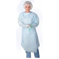 Polyethylene Thumb Loop Style Isolation Gowns, Blue, 75 EA/CS, 5 BX/CS