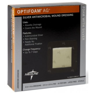 Medline #MSC9604EP - Optifoam Antimicrobial Adhesive Dressings DRESSING, OPTIFOAM, ADHESIVE AG, 4