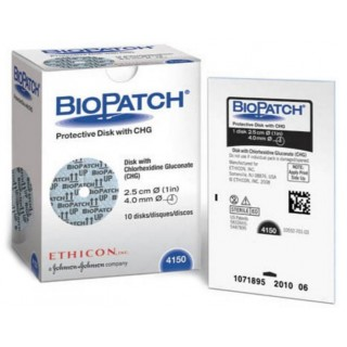 Ethicon #4150 - BioPatch Protective Disk with CHG 1' 4mm 10/BX, 4 BX/CS