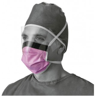 Medline #NON27410 - Fluid-Resistant Surgical Face Masks with Eyeshield, 100 EA/CS, 4 BX/CS